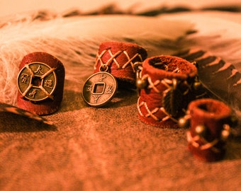 Leather Dreadbead - Brass decoration - Handmade Dread beads - Hippie Goa Bohemian - Dreadlock accessories - Dreadlock beads