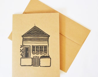 Tiny House Linocut,  Blank Greeting Card
