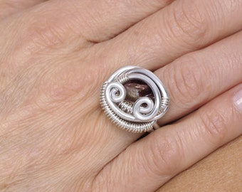 Wire Wrapped Ring,Wire Wrapped Jewelry,Wire Ring,Mother-of-pearl Ring,Adjustable Ring,Handmade Ring,Unique,Accessorie