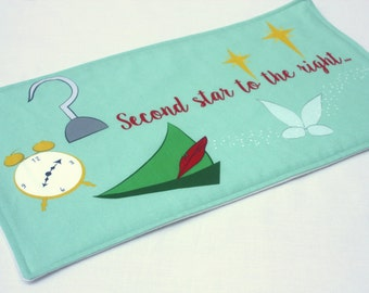 Peter Pan Baby Burp Cloth.  Handmade Unique Baby Gift. Second Star Quote. Neverland Baby Shower Present. Captain Hook Baby Accessory.