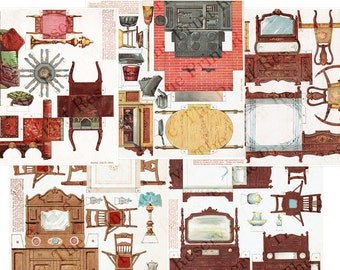 Paper Doll House Furniture 5 Pages 1895 Printable Reproduction Antique Victorian Miniatures
