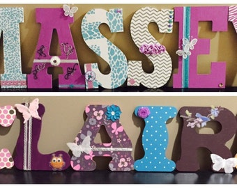 Butterflies/Animal Print Wooden Letters