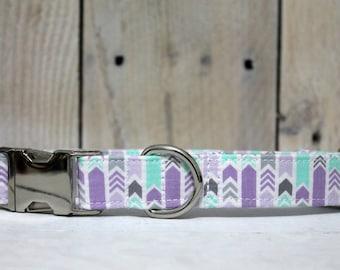 Light Purple/Grey/Mint Chevron Arrows Dog Collar