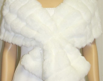 White Minky Faux Fur Wrap Shawl  Brand New