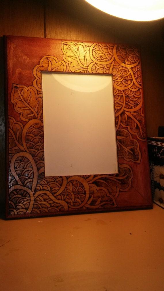 wall hanging 5x7 wood burned picture frame. Black Bedroom Furniture Sets. Home Design Ideas