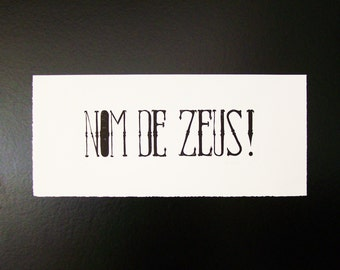 Displays letterpress - back to the future - black and white - linocut by hand - 57, 5 x 25, 5 cm - name of zeus!