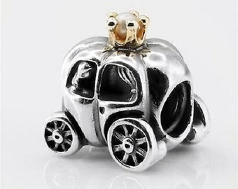 ROYAL CARRIAGE---100% Sterling Silver / 14K overlay .925 Silver European Charm Bead / S925