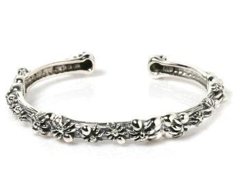 Spider Family Nest 925 Sterling Silver Bangle Bracelet Gothic Biker Jewelry