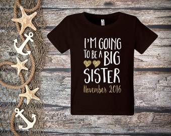I'm Going To Be a Big Sister Shirt;Short Sleeve Black T-shirt;Kid's Big Sister Shirt;Announcement Shirt;Custom Big Sister Shirt;Black Tee