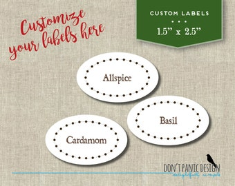 Spice Jar Label - DIY Custom - Modern Chalkboard Oval Spice Jar Labels - DIY Home Organizing - Printable Stickers