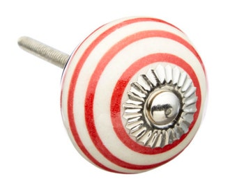 Red Striped Decorative Ceramic Knob Pull, Dresser Drawer, Cabinet or Door - M224
