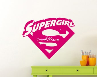 Supergirl Wall Decal Etsy - Custom vinyl wall decals logo