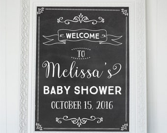 Welcome Baby Shower Sign, Chalkboard Welcome Printable Sign,  Personalized Printable Chalkboard Poster, Chalkboard Baby Shower Sign