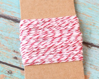 Red and White bakers Twine, 10 yards, valentines day bakers twine,red and white bakers twine, bakers twine, gift wrapping