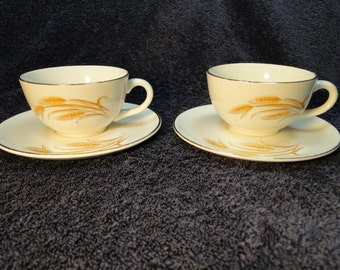 TWO Homer Laughlin Golden Wheat Tea Cup and Saucer Sets Set of 2 EXCELLENT!