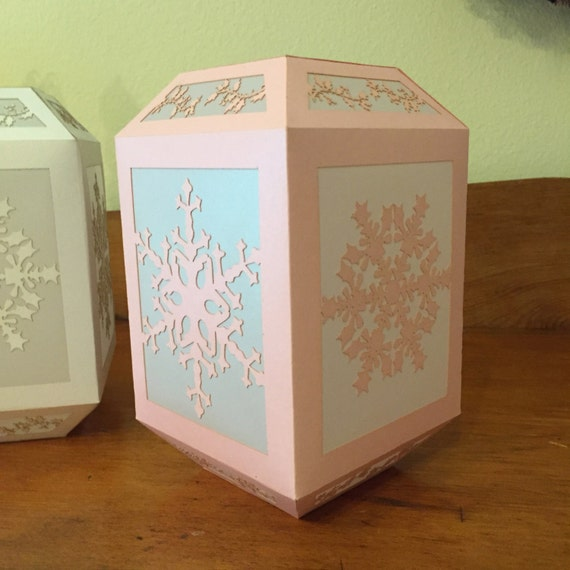 "Paper Lantern / Luminary - Winter Silhouette -""Medium Solitary Snowflake"""