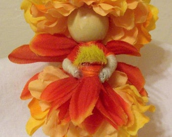 Waldorf style Adorable Orange & Yellow Mum Flower Petal Fairy Doll By Willow Bloome