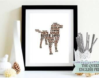 Dog Lover Word Art - Gift For Dog Lovers - My Dog Loves - Typographic Dog Print - Framed Dog Word Art