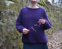 Oversize chunky sweater with blinded pocket. Minimalist style. Wool, Mohair, Silk