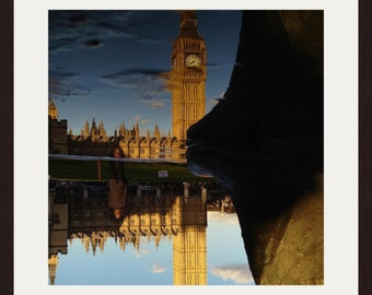 London Photography, Big Ben Print, Puddle, Reflection, Water, Foot Print, Wall Art, Home Decor, Wall Decor, Art Print, Travel Photography