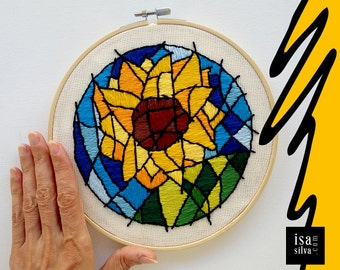 Embroidery Hoop Art-Sunflower/Sunflower-Embroidery with frame-Flower-Flower