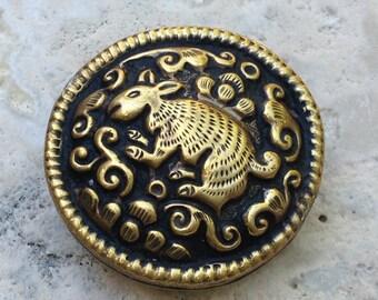 Reversible Tibetan Brass Repousse Bead