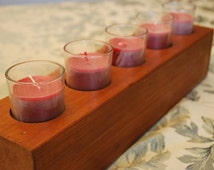 Reclaimed Wood Centerpiece Candle Holder, Rustic Wood Crayon Display, Crayon Storage