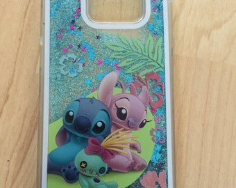 Stitch, Angel, And Scrump Sparkle Liquid Glitter Quicksand Case For Galaxy S7 , S7 Edge Ship from NY