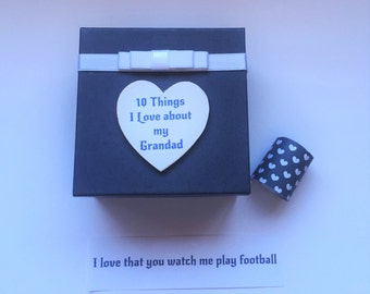 Grandad 10 things I Love about message in a box Personalised Keepsake Birthday Christmas Gift Present