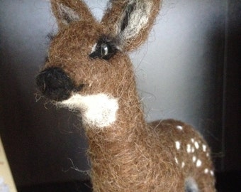 Handmade needle felted sculpture animal art roe-deer