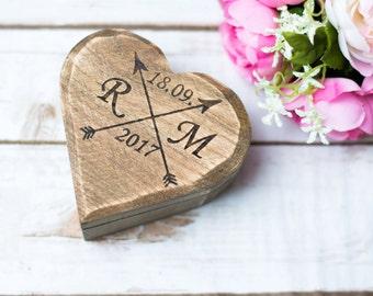 Rustic Wedding Ring box Ring bearer Moss Wooden Ring Box Ring Holder Country Wedding Decor Rustic Ring holder pillow Moos Heart