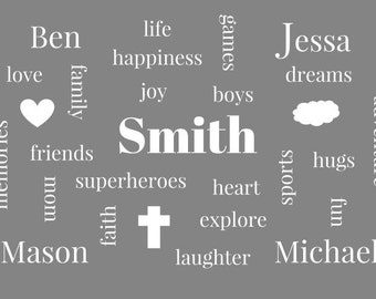 5 x 7 Family Word Art Customize with names and words