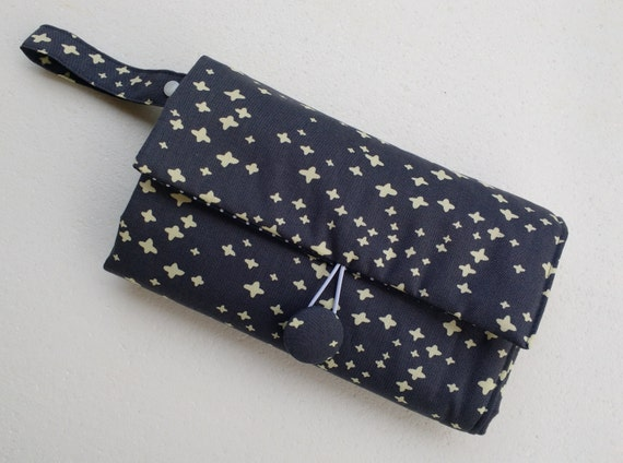 Nappy wallet - Nappy Wallet with attached waterproof Change Mat -Diaper clutch- three or two pockets- grey with stars