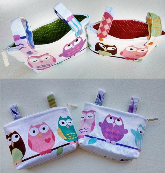 Pram caddy - pram organiser - stroller caddy - stroller organiser - mini wet bag - Makeup Bag - multicoloured owls
