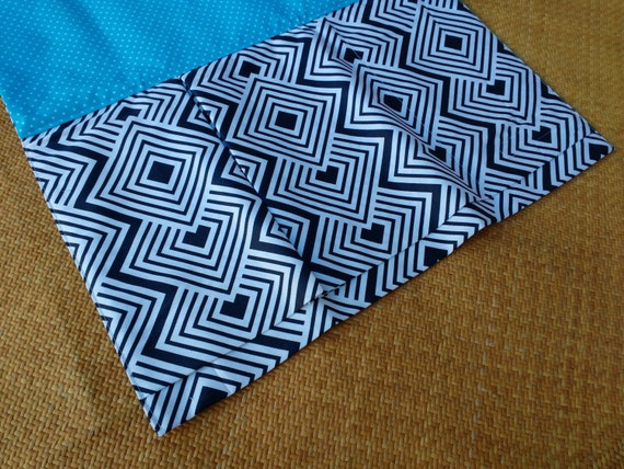Nappy Wallet integrated with waterproof Change Mat- three or two pockets-Holli Zollinger Ekko Chevron Drill Fabric Navy & White