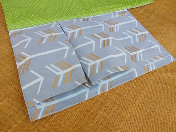Nappy Wallet with waterproof Change Mat - Nappy bag- diaper clutch- nappy wallet - three or two pockets  - Grey with White arrows