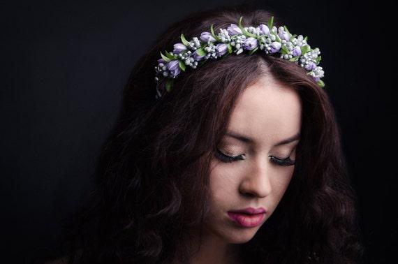 Silver flower headband with purple or serenity tulips/ purple floral hairband / blue wedding hair accessory / bride headpiece