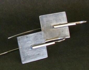 Oxidized silver earrings, Square  silver  925 earrings, Geometrical earrings,Minimal earrings