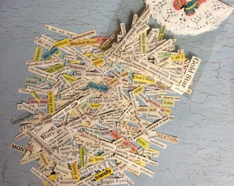Vintage paper words and phrases -book cutouts