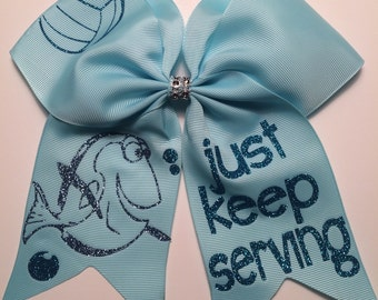 Dory Just Keep Serving Volleyball Hair Bow Softball Bow / Cheer Bow / Volleyball Bow