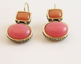Peach & Coral pretty dangle earrings - EA279