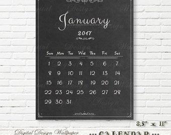 Printable Calendar 2017,Chalkboard Calendar,Monthly Calendar,Chalkboard,Office Calendar,Digital Calendar 2017,Printable Wall Calendar
