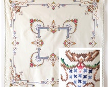 Vintage FRENCH crosstitch flowers cotton retro tablecloth from the 1950s or 1960s in cream, blue, green, red and pink.