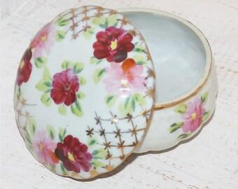 Antique Covered Trinket Box Porcelain - 96