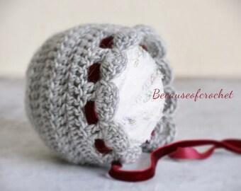 "PDF Crochet PATTERN for beginners - Newborn baby bonnet. Size 0 months (head circ. 13"") Written in US terms."