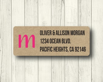 Cute Pink & Black Initial Custom Return Address Labels - Personalized Fun Printed Labels - Matte White or Clear Gloss