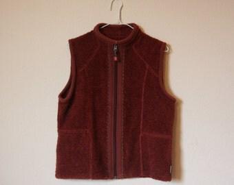 VTG Fleece Zip-up Sweater Vest / Black Cherry Red Outdoors Grunge Top