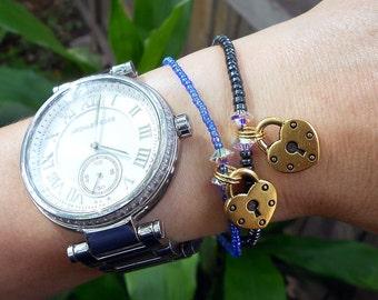 Gold Heart Lock Charm Bracelet With Swarovski Crystals - Swarovski Crystal And Gold Heart Lock Charm Bracelet