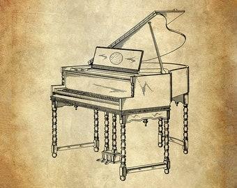 Design for Grand Piano Patent Art Print - Piano Patent Print - Musical Instrument Patent Print - Zaiser Piano Patent Print - Music