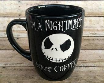 Nightmare Before Christmas, Jack Skellington, ETCHED, Ceramic Mug, Coffee Mug, Coffee Cup, Engraved Mug